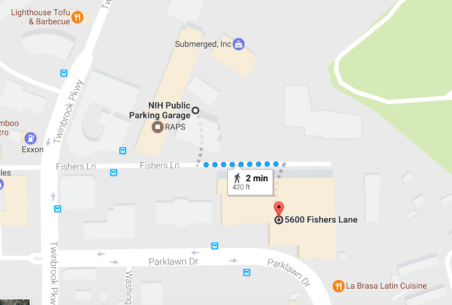 Snippet of a google generated map showing the proximity of the NIH Public Parking Garage to HRSA Headquarters (2 minute walk).