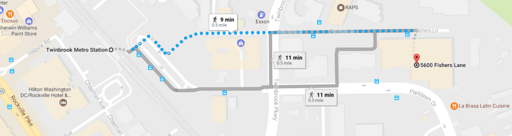 Snippet of a google generated map showing the route to walk from the Twinbrook Metro Station to HRSA Headquarters. The fastest route is 9 minutes, the other two are 11 minutes.